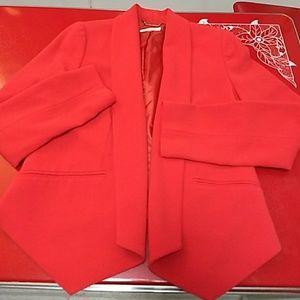 Calvin Klein open in front red blazer